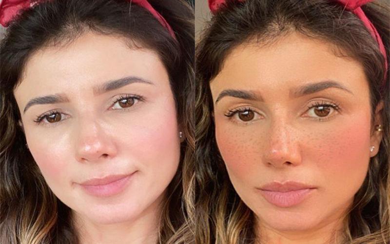 Paula Fernandes posta foto do rosto com e sem filtro