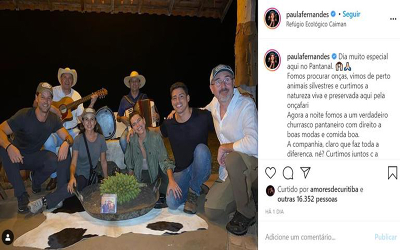 Paula Fernandes e Cauã Reymond desbravam o Pantanal em passeio de barco
